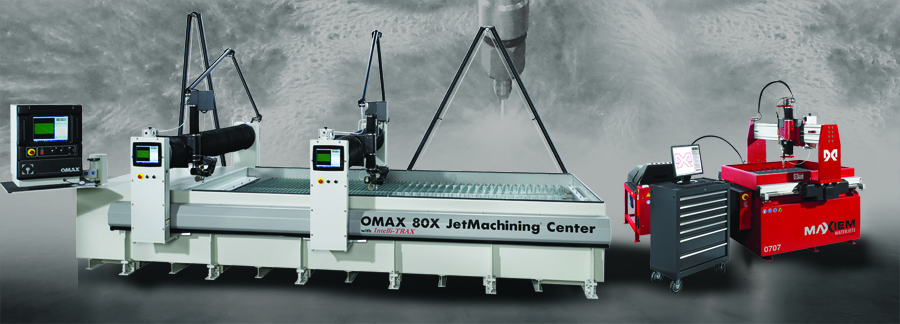 OMAX 80X JetMachining Center Dual Bridge and a MAXIEM 0707 JetCutting Center